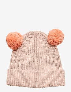 Cap knitted soft w 2 pom pom - PINK