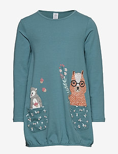 Long sleeve jersey tunic with animal print - DUSTY TURQUOISE