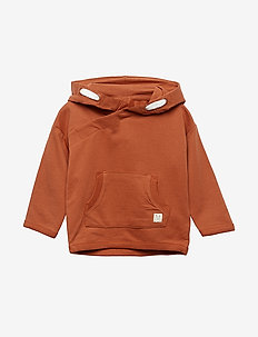 Hooded sweatshirt with double pocket - DUSTY RED