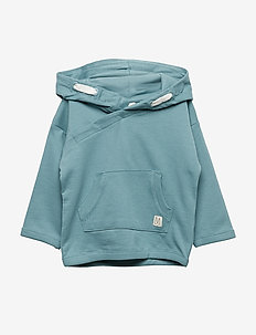 Hooded sweatshirt with double pocket - DUSTY TURQUOISE