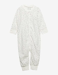 White pyjamas with grey dots and cat appliqué - LIGHT DUSTY WHITE
