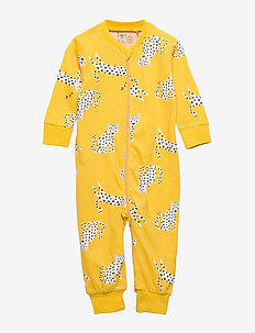 Yellow pyjamas with white leopards - DARK DUSTY YELLOW