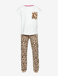 Pajama BG leo print fur pocket - WHITE