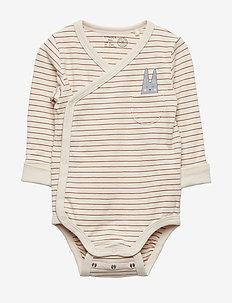 Striped wrap bodysuit with print - DUSTY BROWN