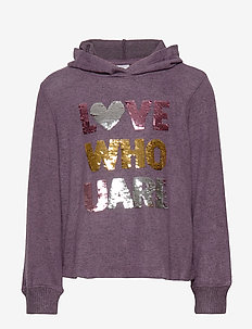 Hooded sweater with front decoration - DARK LILAC MELANGE