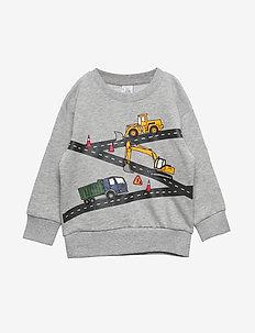 Oversized grey sweatshirt with vehicle print - GREY MELANGE