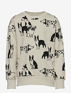 Oversized sweater with dog print - LT BEIGE