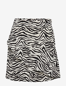 Zebra striped skirt with flounce - OFF WHITE