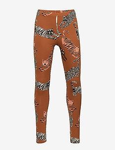 Brown leggings with cat print - BROWN