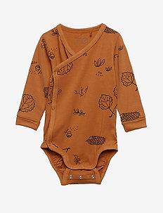 Patterned long sleeve wrap bodysuit - DUSTY BROWN