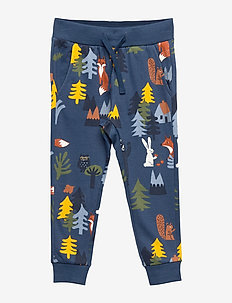 Blue sweatpants with forest animal print - DARK DUSTY BLUE