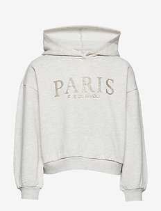 Hooded sweater with glittery Paris print - OFF WHITE