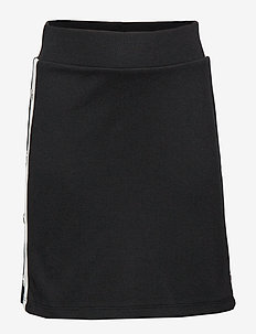 Black jersey skirt with white side stripes - BLACK