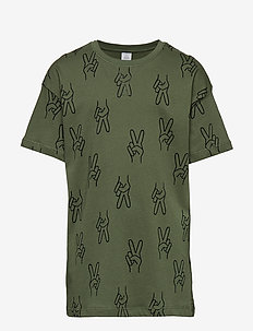 Oversized green t-shirt with pattern - KHAKI