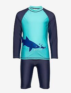 Sunprotection set SB Shark - stroje kąpielowe uv - light turquoise