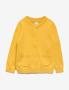 Cardigan knitted solid - DUSTY YELLOW