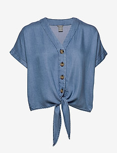 Blouse Julia denim - blouses med korte mouwen - denim blue
