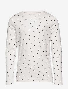 Top l s basic ao print - langärmelige - light dusty white