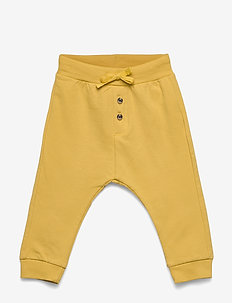 Trousers solid buttons front - trousers - dusty yellow