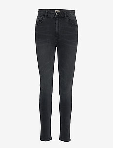 Denim trousers Vera washed bla - BLACK