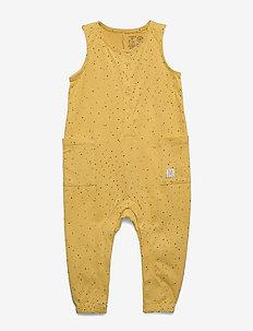 Jumpsuit aop minidot - korte mouwen - dusty yellow