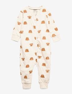 Pyjamas Teddy at back - one-sie - light beige