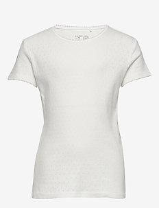 Top pointelle basic - korte mouwen - light white