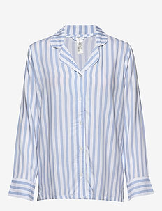 Night Shirt Woven Stripe Elsa - Överdelar - dusty blue
