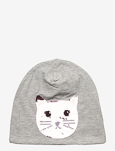 Cap tricot flip seq Cat - hats - light grey melange