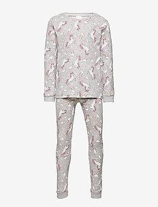 Pajamas Sg Unicorn AOP - sett - lt grey melange