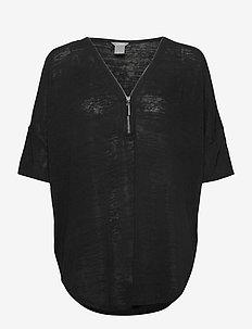 Top Vicki zip - kortärmade blusar - black