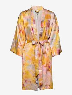 Kimono Ella M Abstract aop - LT DUSTY YELLOW