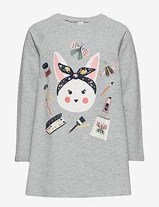 Top long a line Sweet rabbit - long-sleeved t-shirts - light grey melange