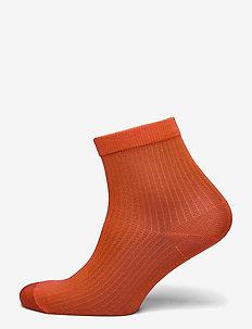 Sock low shiny rib - skarpetki - red