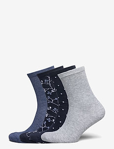Sock 4 p Blue Flower - strømper - navy