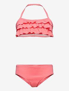 Bikini BG tripple frills jaqua - bikinier - neon pink