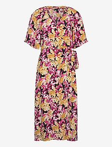 Dress Rutan - wrap dresses - dark dusty yellow