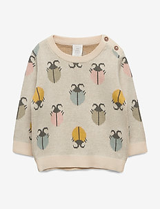 Sweater knitted bugs - knitwear - light beige