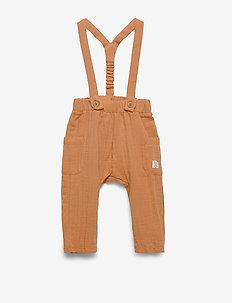 Trousers gauze suspender - ogrodniczki - dusty brown