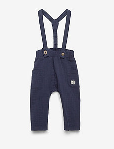 Trousers gauze suspender - dungarees - navy
