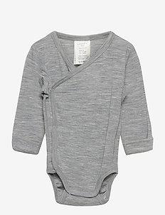 Body baby wrap merino wool - długie rękawy - grey melange