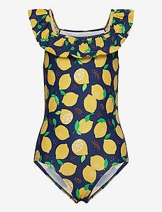 Swimsuit SG aop lemons frill s - jednoczęściowe - dark dusty blue