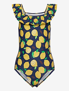 Swimsuit SG aop lemons frill s - swimsuits - dark dusty blue