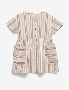Dress woven stripe - dresses - dusty brown