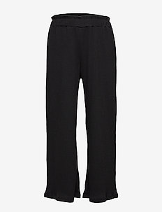 Trousers wide cropped with fri - BLACK