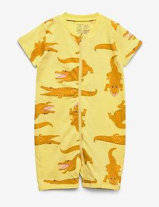 Pyjamas SS Croco aop - schlafoverall - yellow