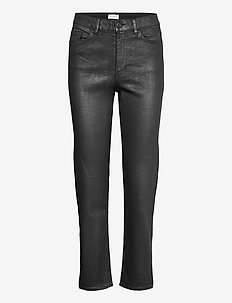 Trousers Nea coated - straight jeans - black