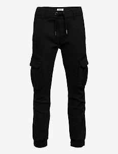 Trousers loose cargo w pockets - broeken - black