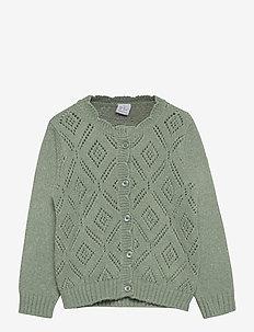 Cardigan patternknit scallop e - kardigany - light dusty green