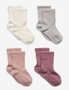 Sock 4p ribb sock pink and lil - skarpety & rajstopy - lilac